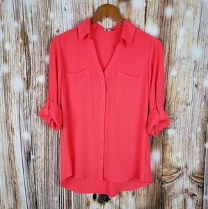 Express Portofino M Chiffon Button Down Shirt Top